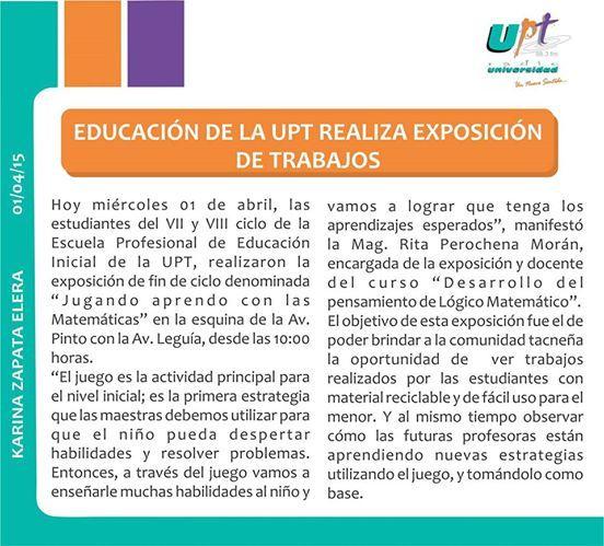 Educación de la UPT realizó exposición de trabajos. #Actividades #Educación #Universidad #Privada  #Tacna- #Marzo 2015