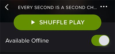 To make a playlist available when you're not online, click Available Offline at the top of the playlist. Then, a green arrow will appear next to the playlist when it's available.
