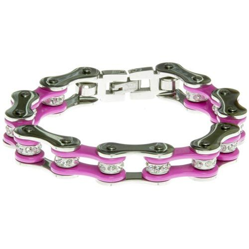Silver & Pink Bike Chain Bracelet with Crystals
