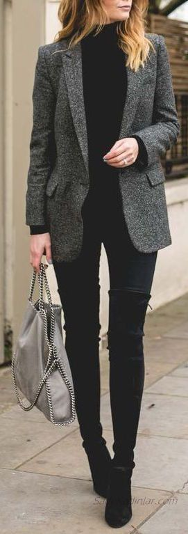 Black Turtleneck Sweater Combinations; Black Pants Black Sweater Gray Jacket