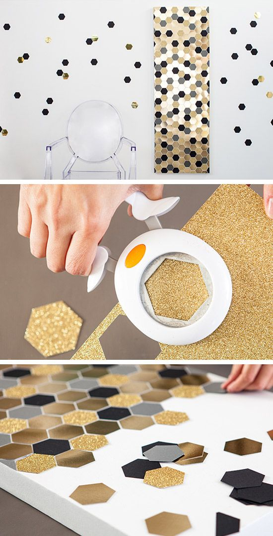 Hexagon Bling Art | 36 DIY Wall Art Ideas for Living Room | DIY Wall Decorating Ideas for the Home