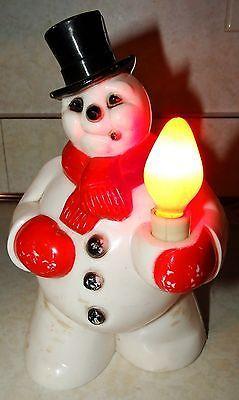Vtg Christmas Small Blow Mold Light Up Plastic