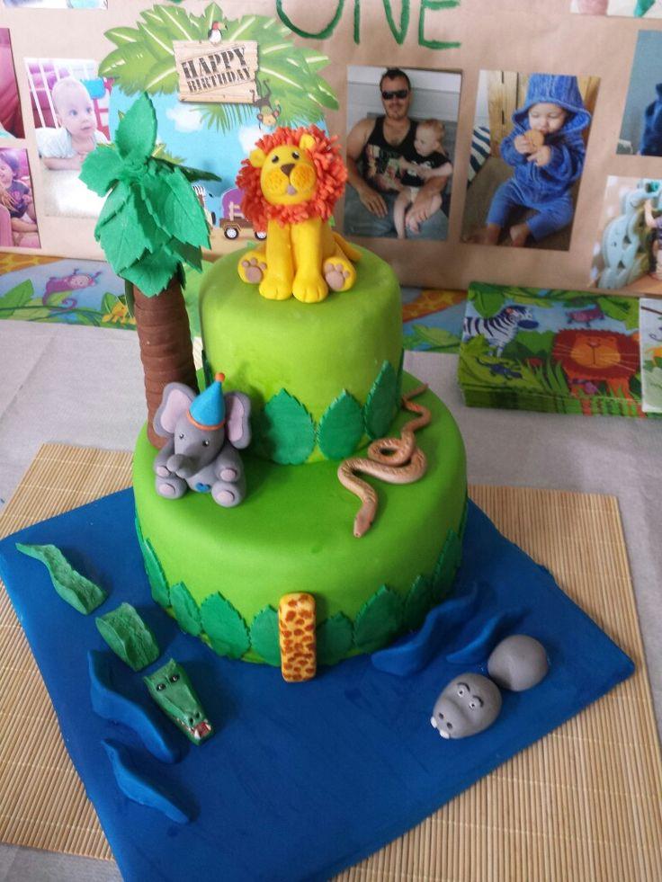 Jungle Safari 1st Birthday Cake