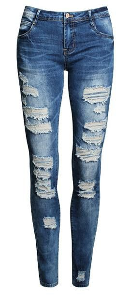 Rough edges and ripped design make this jean look much voguer,and straight design can make you look slimmer,you can wear it at your free time and which do add some glamour to you. Material:Denim Size: