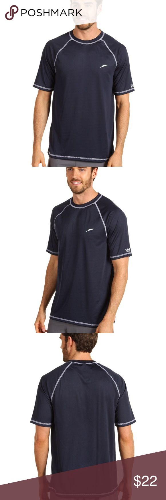 NWOT Men's speedo top Perfect condition and great material. Lightweight and dri fit like material. Color is navy Speedo Shirts Tees - Short Sleeve