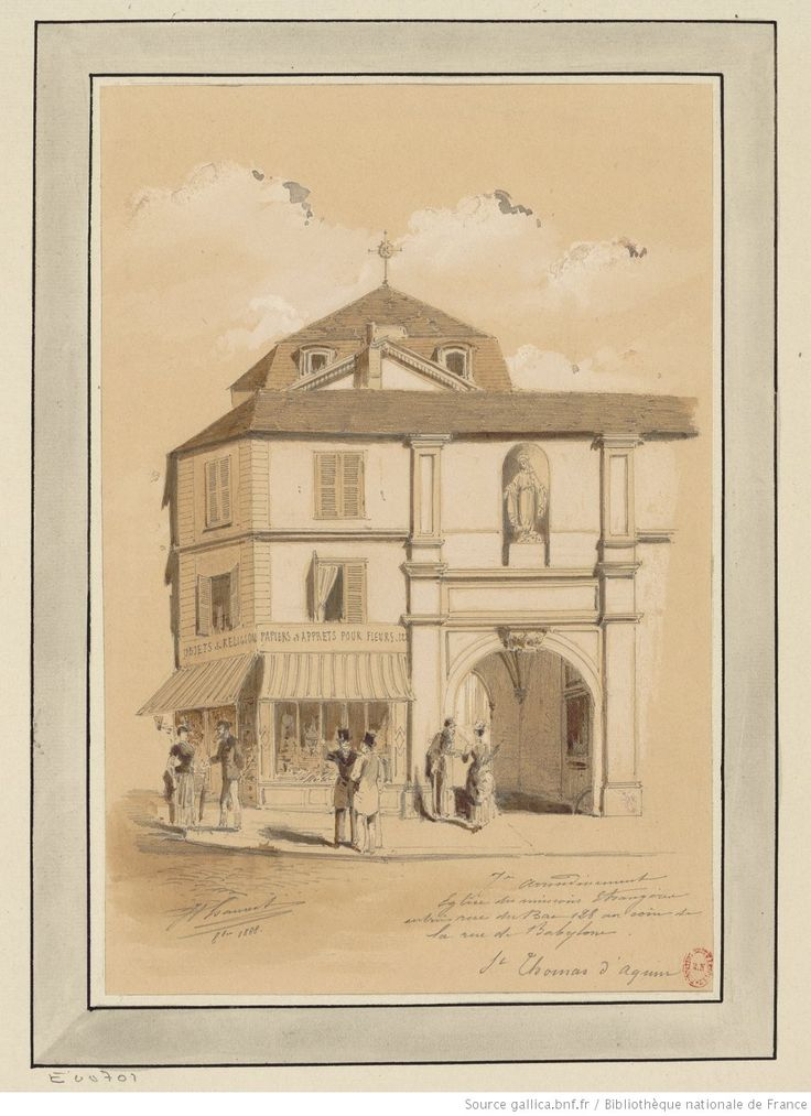 Eglise des Missions étrangères, entrée rue du Bac 128 au coin de la rue de Babylone : [dessin] / JA Chauvet [Jules-Adolphe Chauvet]