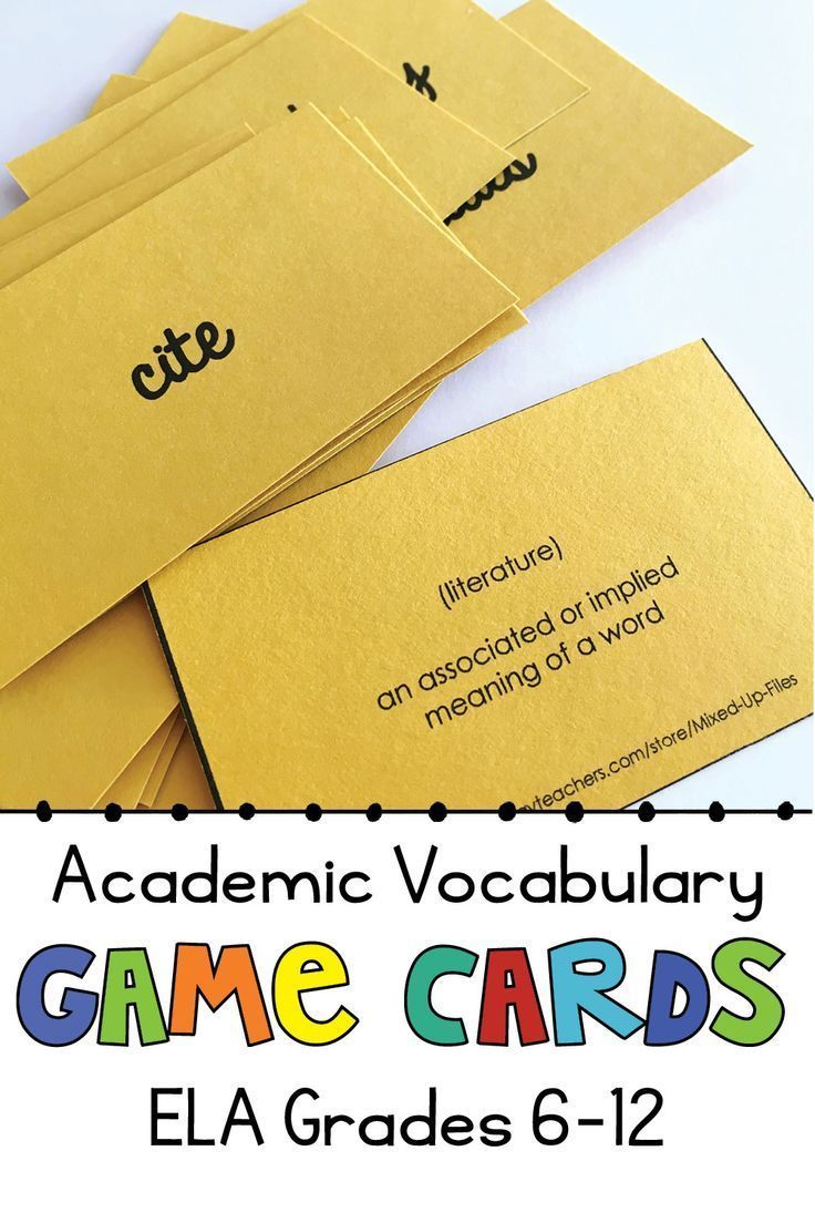 Academic Vocabulary Ela Game Cards With Images Academic Vocabulary