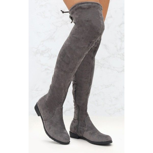 Grey Suede Flat Thigh High Boot ($55
