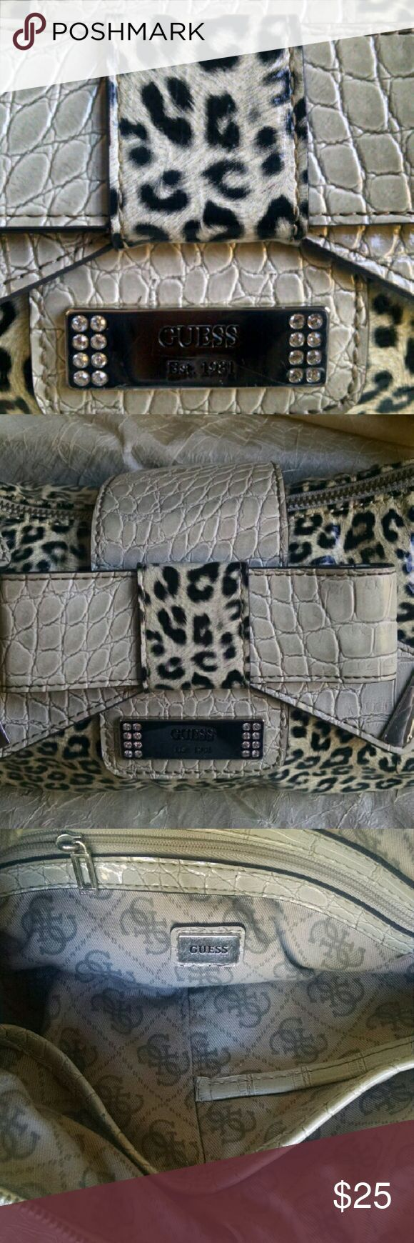 Guess Animal Printed Shoulder Bag Purse Authentic, super clean, small, normal wear Guess  Bags Shoulder Bags