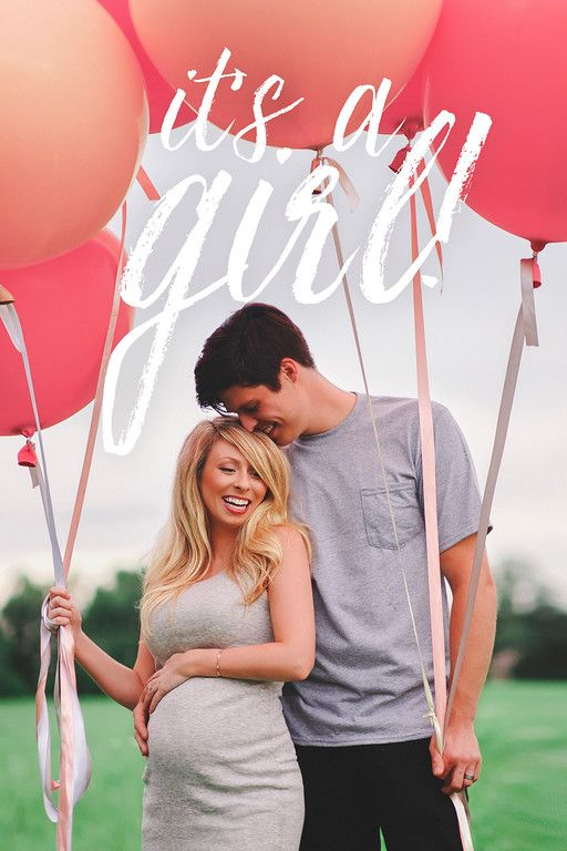 Baby girl gender reveal, gender announcement photo with giant balloons! Mountain Home, Arkansas - Wedding photography and cinematography. Megan Burges Photography.
