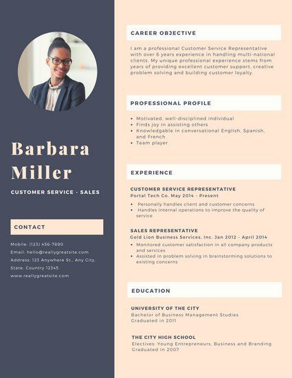 dark purple woman photo customer service resume