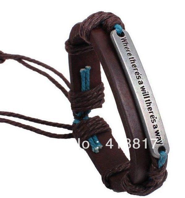 Бесплатная доставка античный там, где есть воля, есть способ письмо кожаные манжеты браслет оптовая