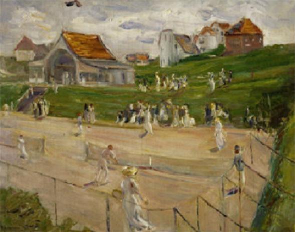 Tennis Court with Players in Noordwijk, Netherlands, 1913
