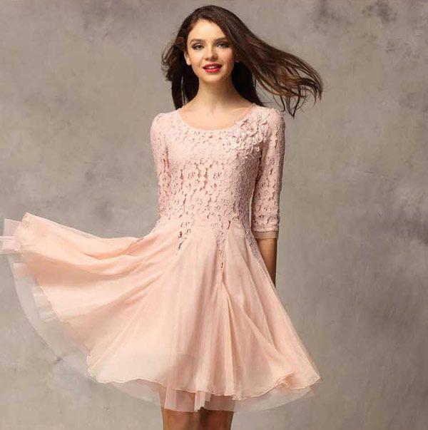 Dress Pesta Cantik Kombinasi Brokat dengan Sifon Terbaru A2998