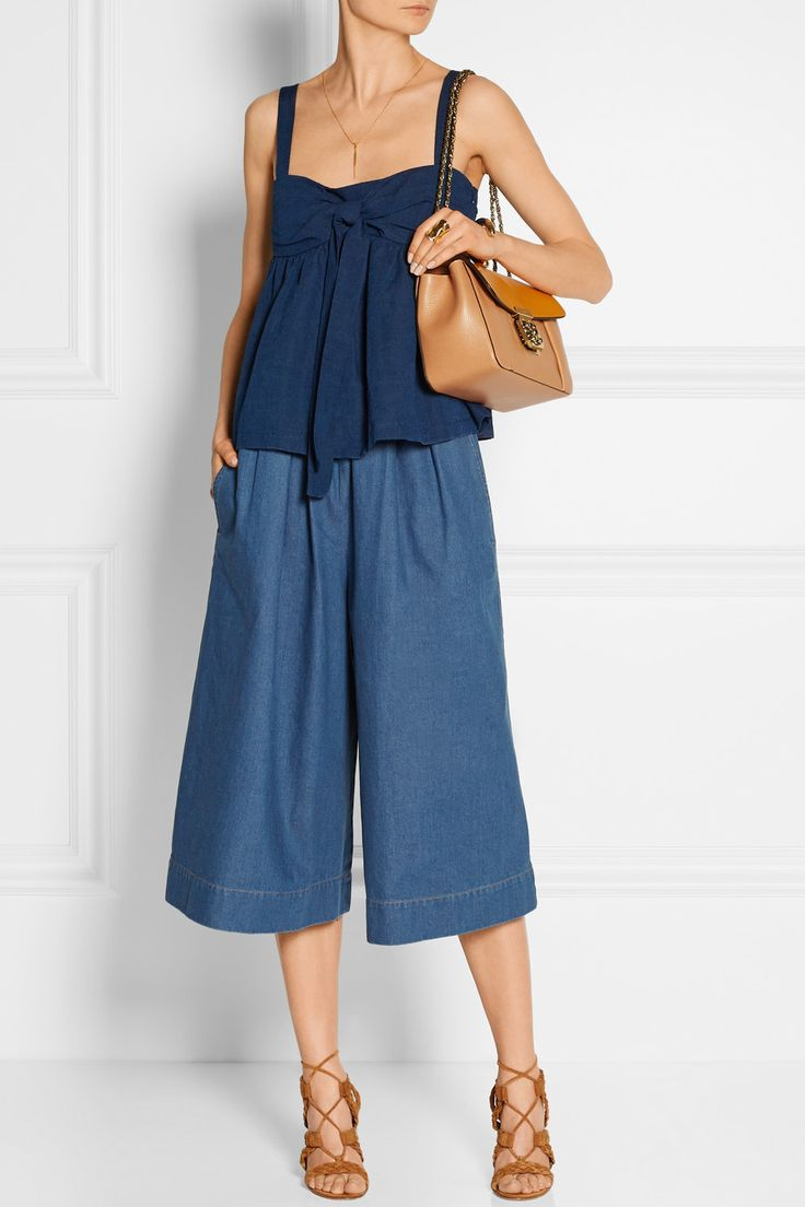 Stella McCartney | Air Force denim culottes | NET-A-PORTER.COM