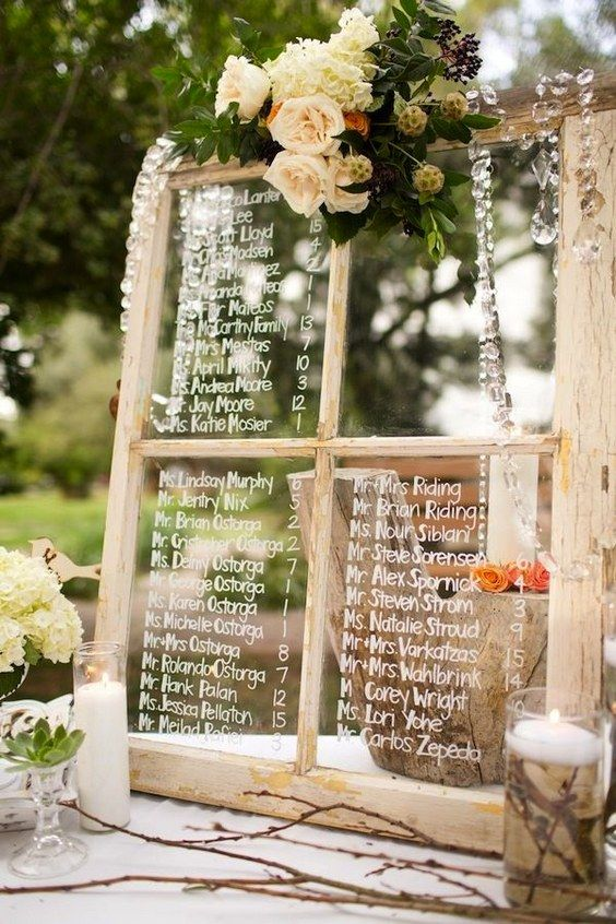 vintage old window wedding seating chart