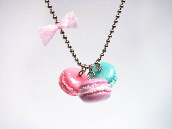 French macaron necklace pink blue & purple miniature by xunnux, $19.90