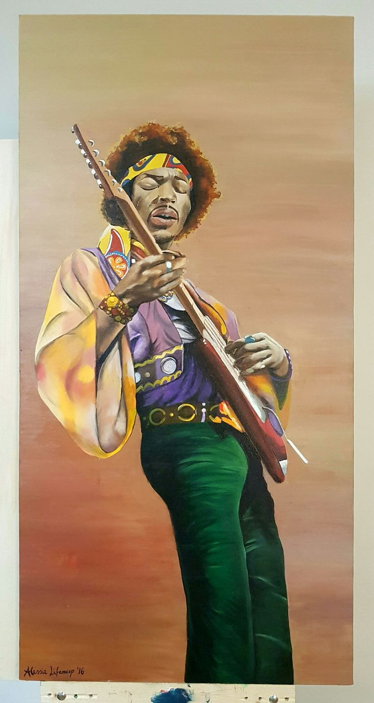 Jimi Hendrix by Alessia Lifemeup  Oil on canvas