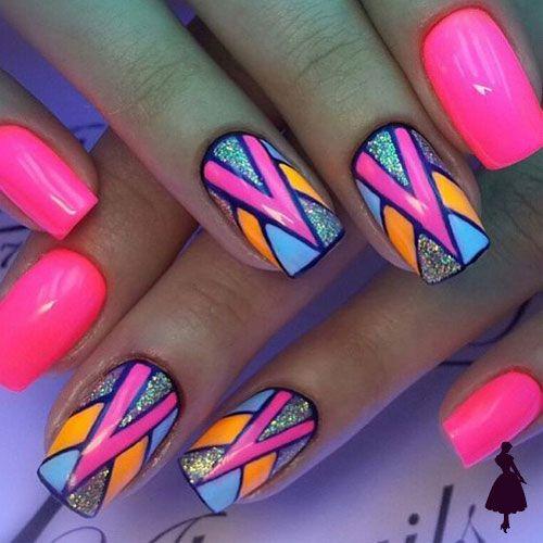 Nailart geométricos colores