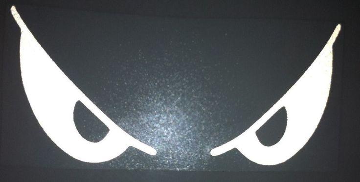White Reflective Evil Eyes Motorcycle Helmet Sticker Decal Vinyl Laptop GLOWS #crystalbaydesigns #Contemporary