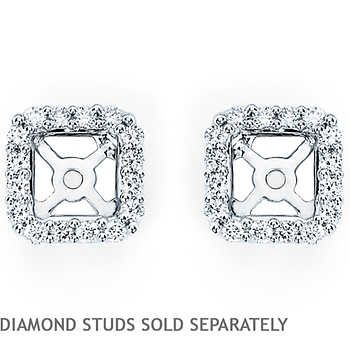 Square Clarity I Color Diamond White Gold Earring Jackets Fit Ctw Princess Cut Studs