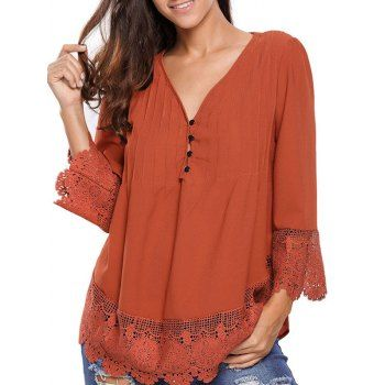 ****DEEP ORANGE LARGE ****SHARE & Get it FREE | Lacework Splicing Single-Breasted BlouseFor Fashion Lovers only:80,000+ Items·FREE SHIPPING Join Dresslily: Get YOUR $50 NOW!