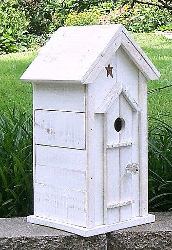 Treasured Shabby Chic Birdhouse White on by OkawValleyBirdhouses