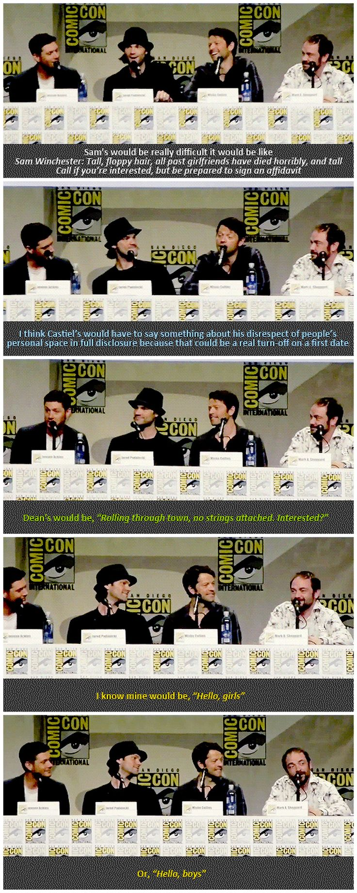 [gifset] What would be your character's dating profile? #SDCC14 <--- So funny brother dropped the phone. :)