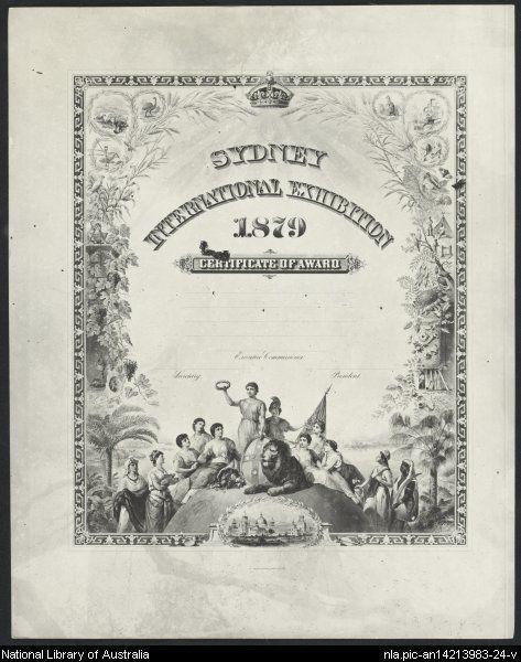 Sydney International Exhibition 1879 Certificate of Award