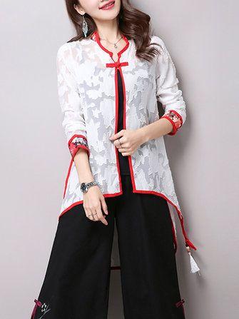 Folk Style Plate Buckle White Long Sleeve Irregular Women Cardigans
