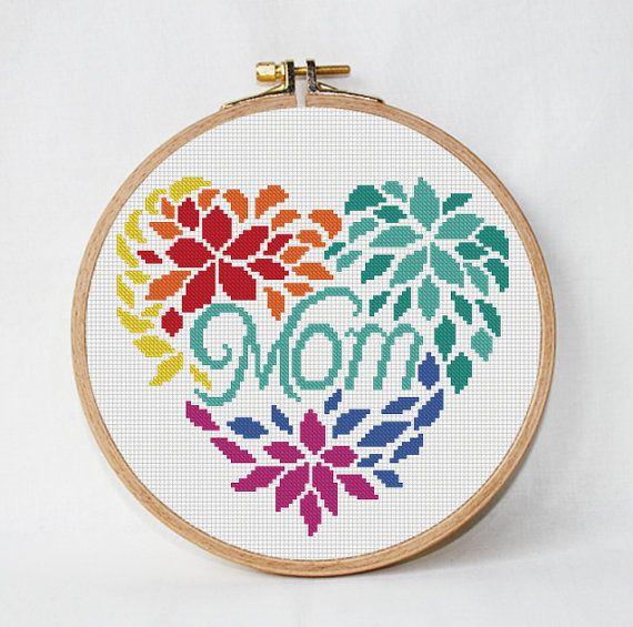 Mothers day cross stitch pattern Mom cross от AnimalsCrossStitch