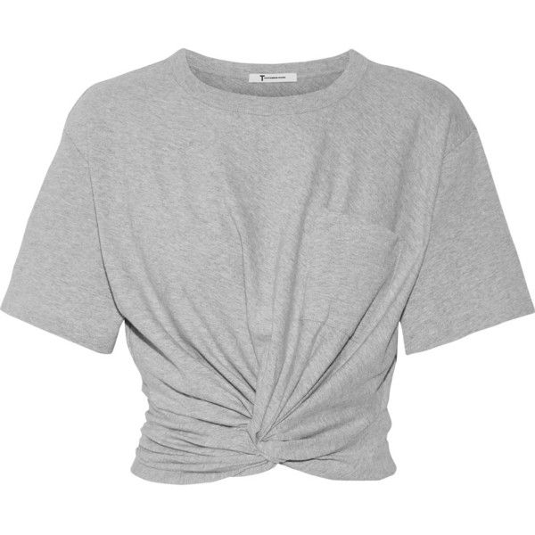 T by Alexander Wang Cropped twist-front stretch-cotton jersey T-shirt found on Polyvore featuring tops, t-shirts, shirts, crop top, blusa, light gray t shirt, cropped shirts, twist front crop top, t shirt and stretch cotton t shirt