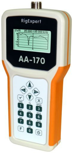RigExpert AA-170 is a powerful antenna analyzer designed for testing, checking, tuning or repairing antennas and antenna feedlines.  Mainly, this is an SWR (Standing Wave Ratio) and impedance measurement instrument (vector impedance analyzer).