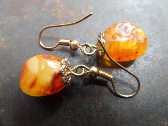 Genuine Amber EarringsCognac Amber by CodettiSupply on Etsy