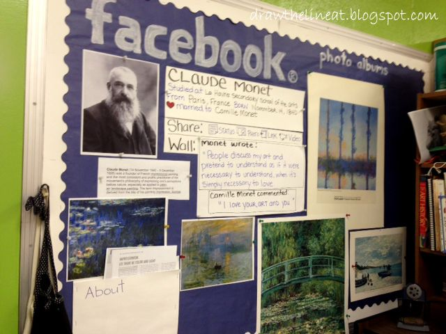 Use facebook format on bullitin board to introduce students to famous artists.  Neat!