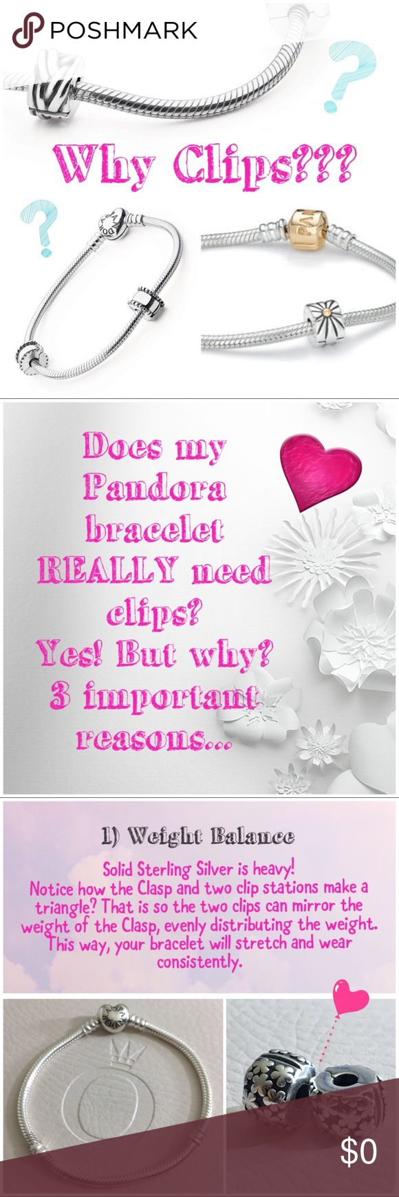 What's up with Pandora clips? •Not for sale• Ever wondered about clips for your Pandora bracelet? 🤔Here are a few answers. 🤗 And for those who just don't like them, there is now a Smooth version of the snake chain bracelet!  🎀 Happy Poshing! 🎀 Pandora Jewelry Bracelets #pandorajewelry