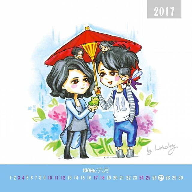 26/12/2016 ☆#VAMPS fanart calendar☆ #June Let small miracles are all around you! #fanart #art #sketch #illustration #calendar #hidrangeablue #hidrangea #rain #frog #japan #HYDE #KAZ #kazist #RUSBLOODSUCKERS