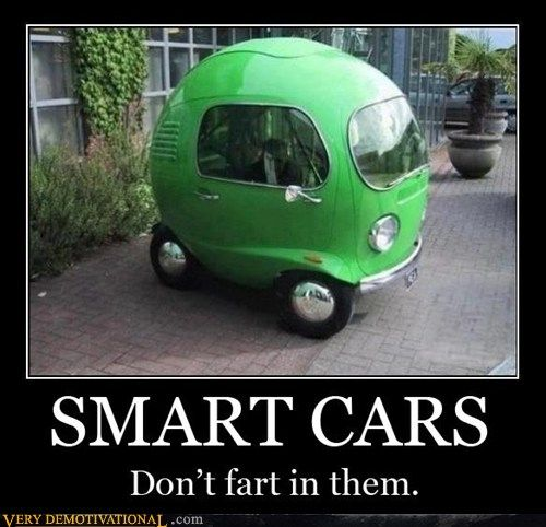 SMART CARS don't fart in them.