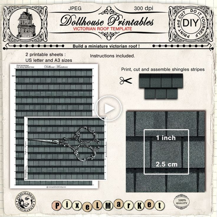 Dollhouse Miniature Wallpaper Printable Roof Tiles Template 1 12th Victorian Gray Slate Roof Shingles Digital Download For Diorama Roombox Slate Roof Shingles Roof Shingles Shingling