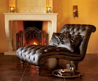 Double Heirloom Leather Chaise Lounge