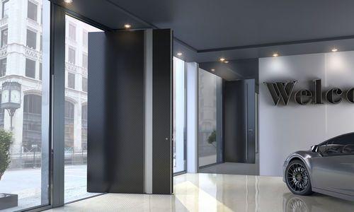 Porte d 39 entr e pivotante axe excentr en aluminium for Porte zen fiber