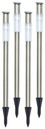 Tricod Stainless Steel Pole Solar Light, Pack of 4 by Tricod. $39.99. Product size 3-1/2-inch(W) x 27(H); One High output long lasting ultra-bright white LED bulb; More expensive ultra-highly sensitive solar panel usually seen on calculators is used; Adjustable height, thanks to 2 step stainless steel stake.; Automatic dusk-to-dawn operation, On/off manual over-ride switch; Light time up to 10 hours, rechargeable AAA battery included and installed