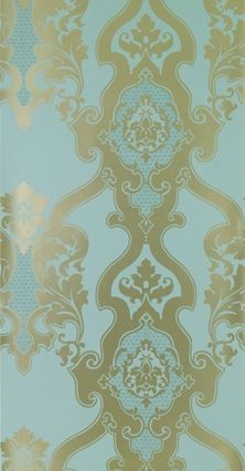 Cabriole Wallpaper Large damask design wallpaper in gold on duck egg