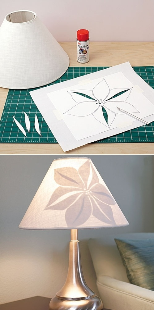 DIY: blossom lampshade: I like this with maybe a different pattern? Very simple and easy looking though.