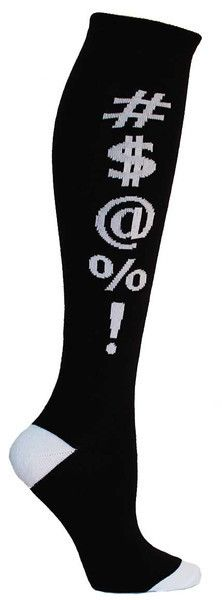 Black knee high socks with #$@%! in white lettering and cushioned footbed. Unisex design: fits a women's shoe size 7 - men's 13.5.