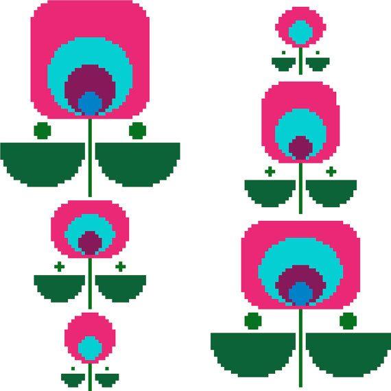 Fun colourful geometric retro flowers. Contemporary cross stitch design. Modern…