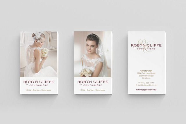 Robyn Cliffe Couturiere business card graphic design by Robertson Creative, Christchurch, New Zealand.