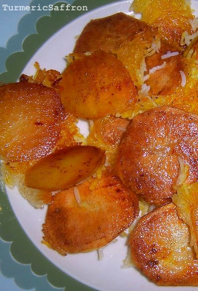 """The Art of Making Persian Crispy Rice """"Tah-Dig"""" made from Potato or Bread.  Source~Turmeric & Saffron."""