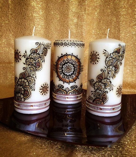 Set of 3 Medium Sized Henna Candles (Gold and Brown) on Etsy, $60.00