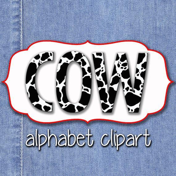Cow Print Alphabet Clipart, Cow Spots Alphabet, Printable ...